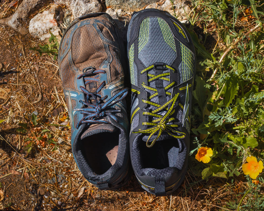 Altra Lone Peak 3.5, the only two pairs of shoes I used for the entire trail.