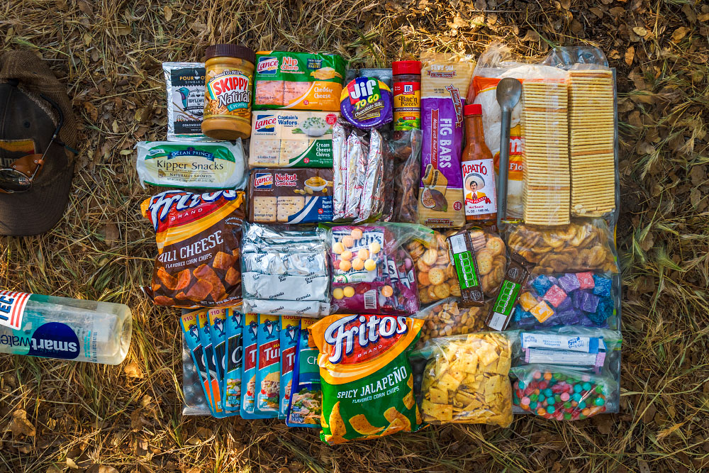A fairly standard resupply outside Tehachapi, CA. Too many crackers, not enough candy.