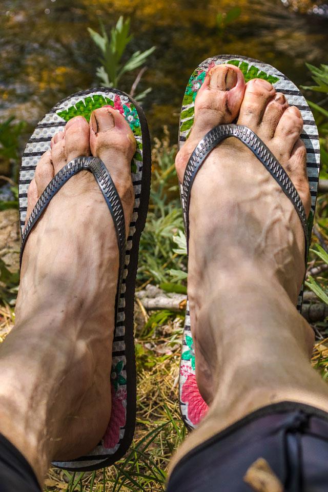My flip-flops weren't even comfortable, but at least they weren't shoes.