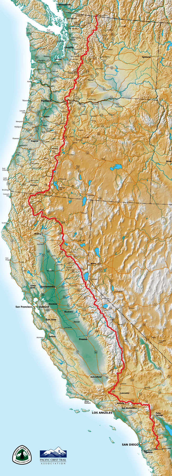 An overall map of the PCT. Photo Courtesy  Pacific Crest Trail Association.