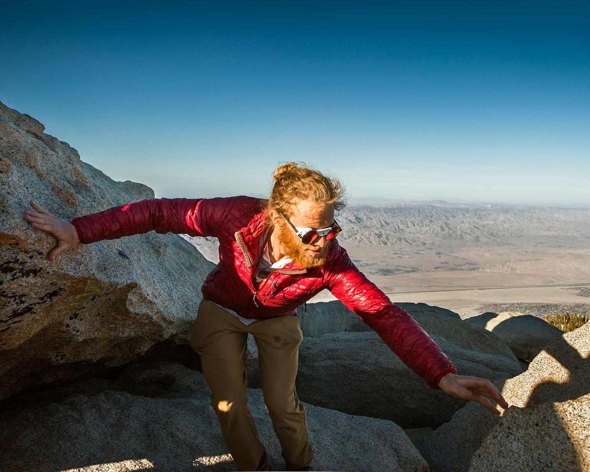 Adam scrambling on San Jacinto peak.