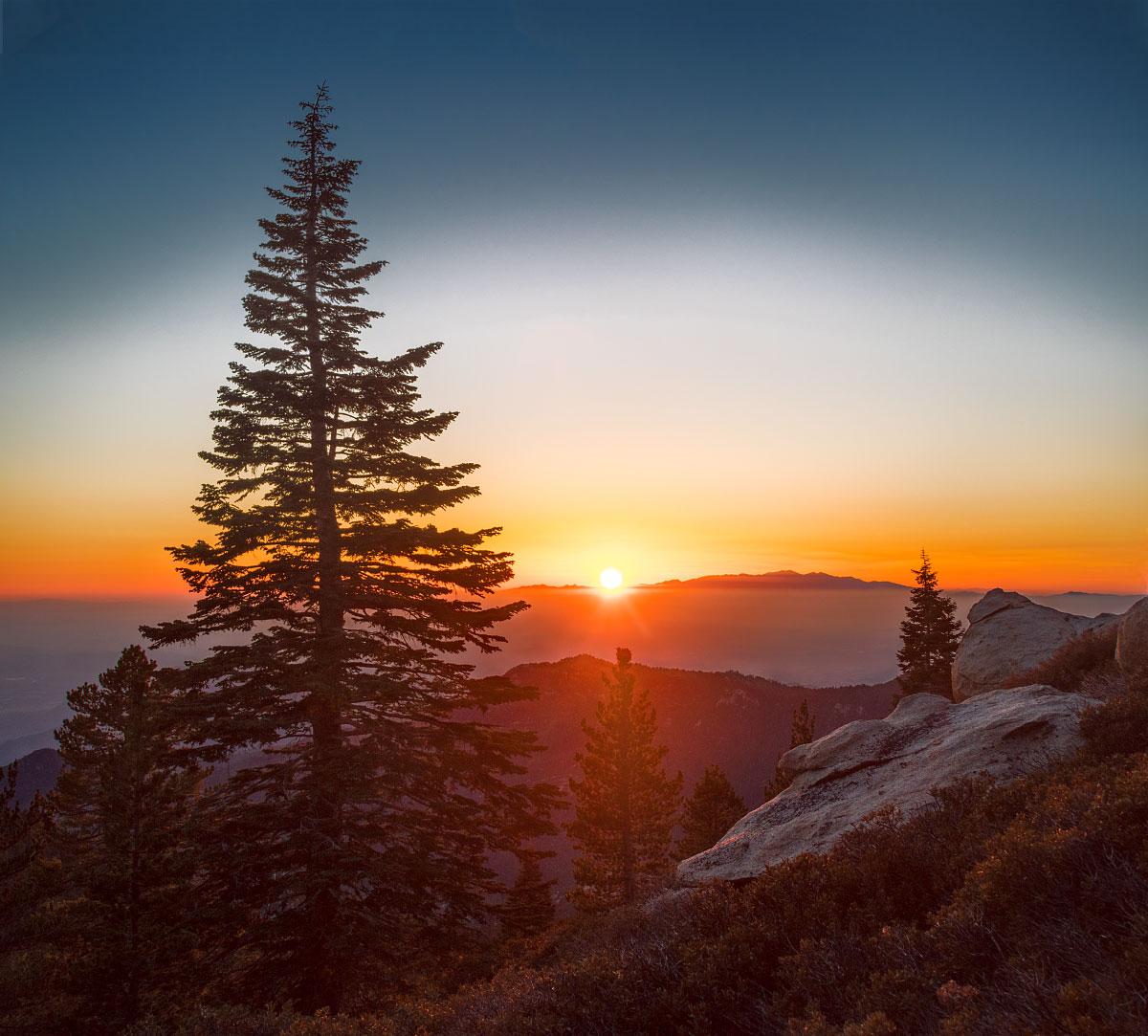 Sunset over Santiago peak.