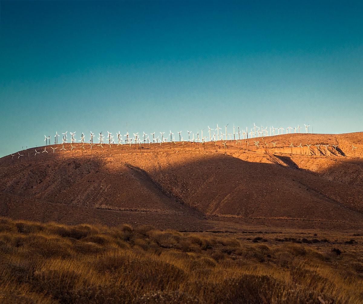 Sunset on Mesa Wind Farm, mile 211.7.