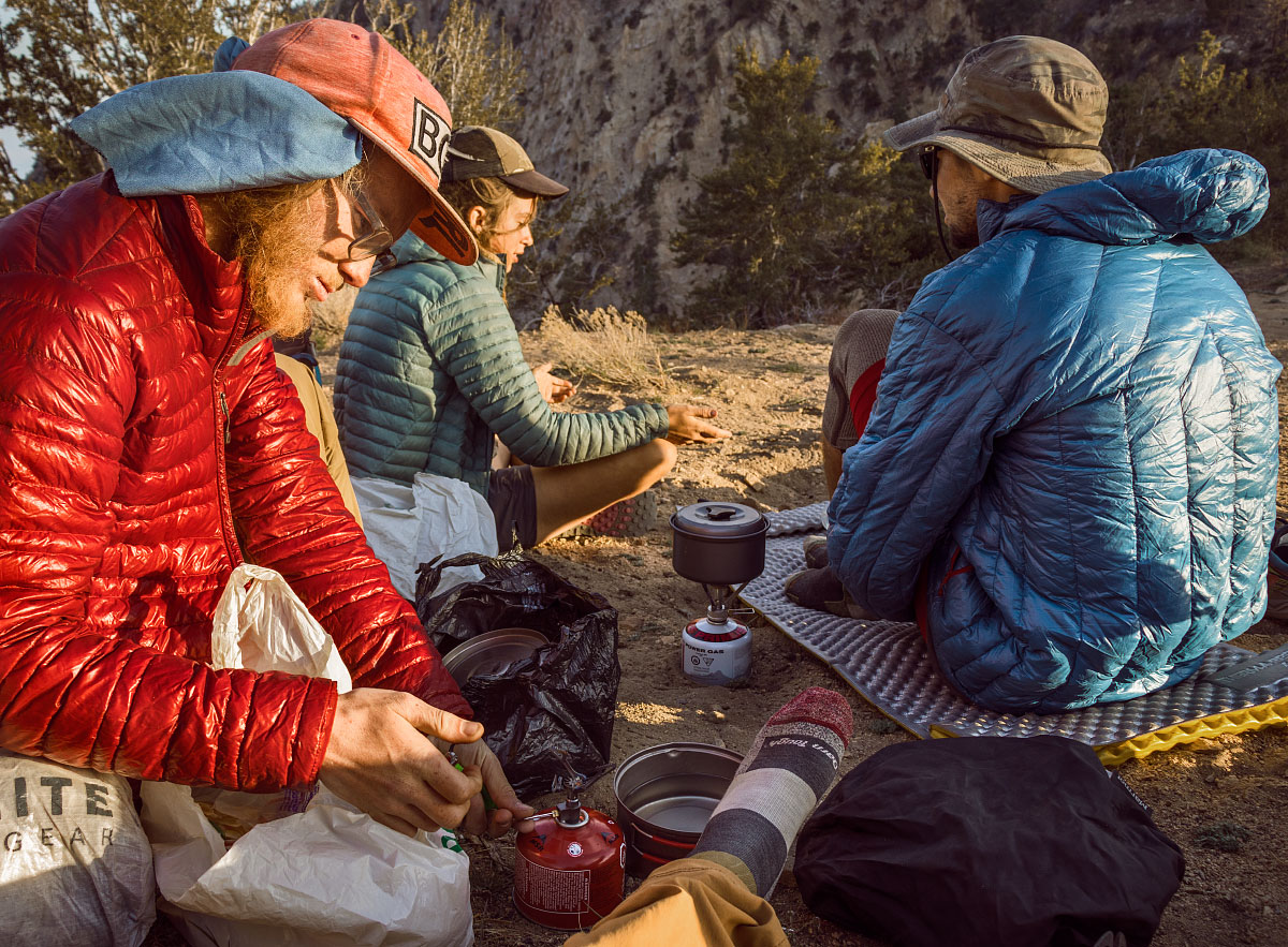 Cooking dinner on trail, mile 244.7.