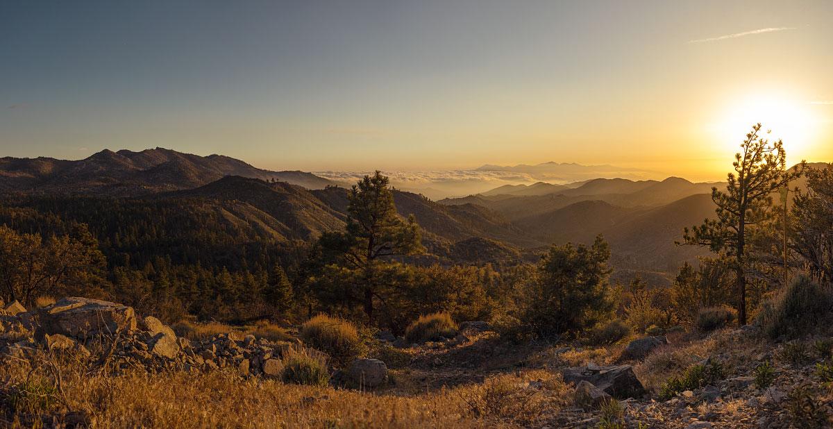 Sunset over San Bernadino National Forest, mile 282.3.