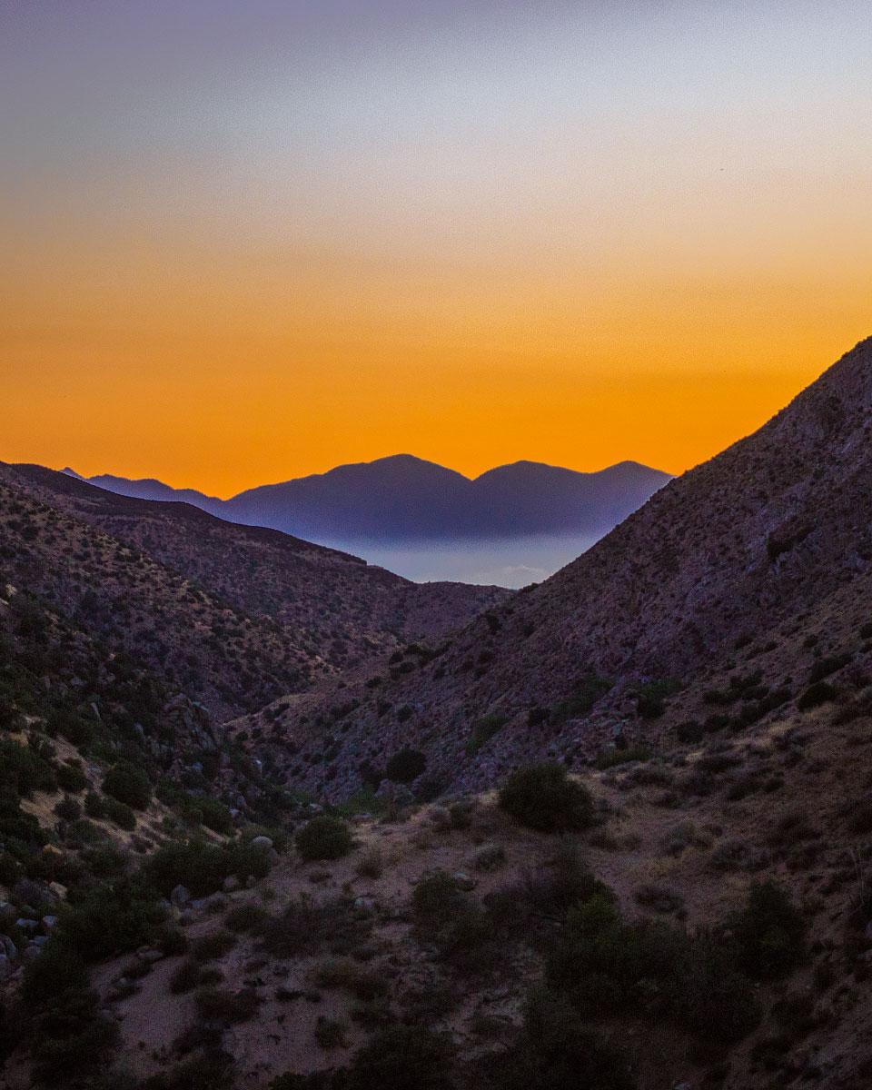 Sunset over Deep Creek, mile 310.1.