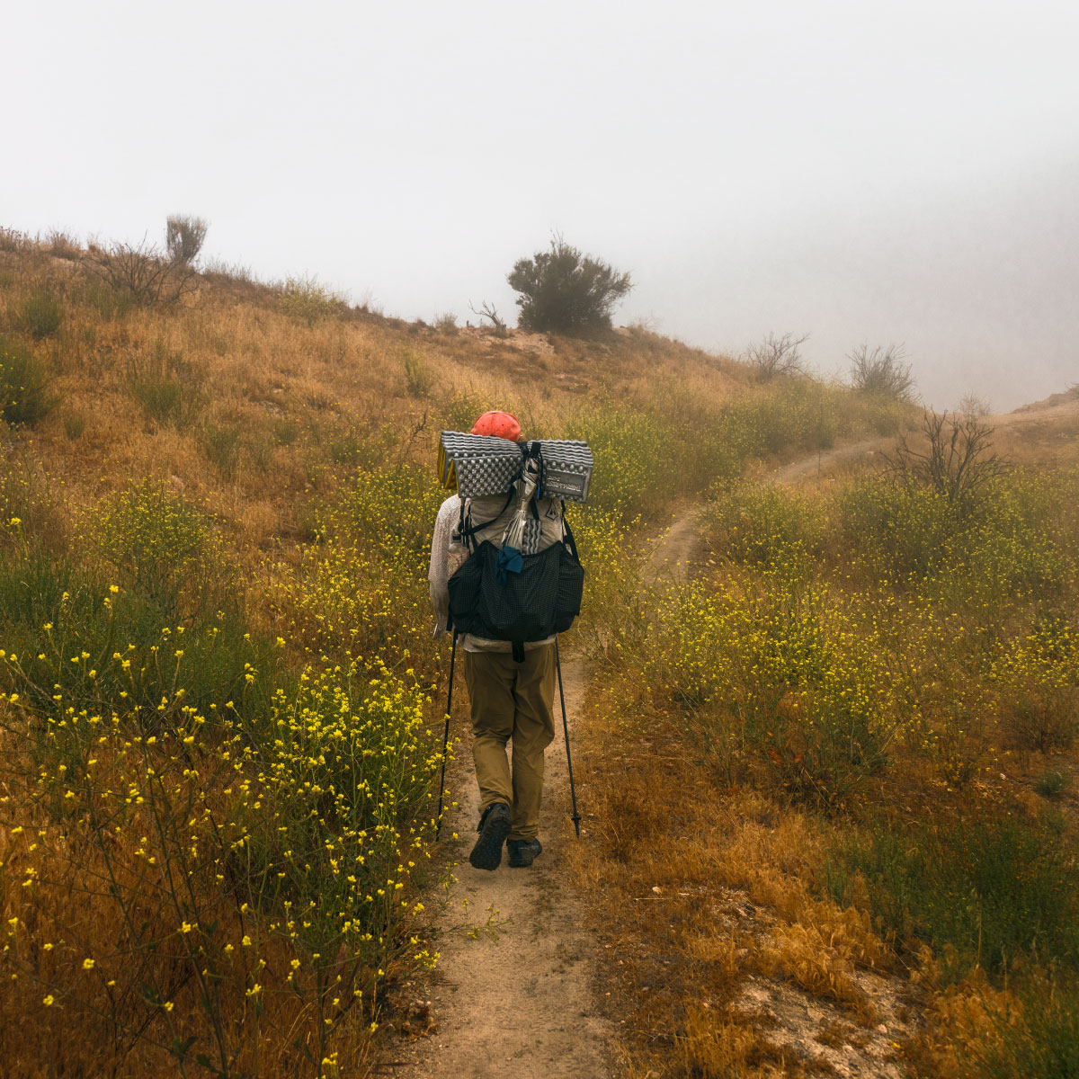 Hiking in the mist towards Cabazon, mile ~363.