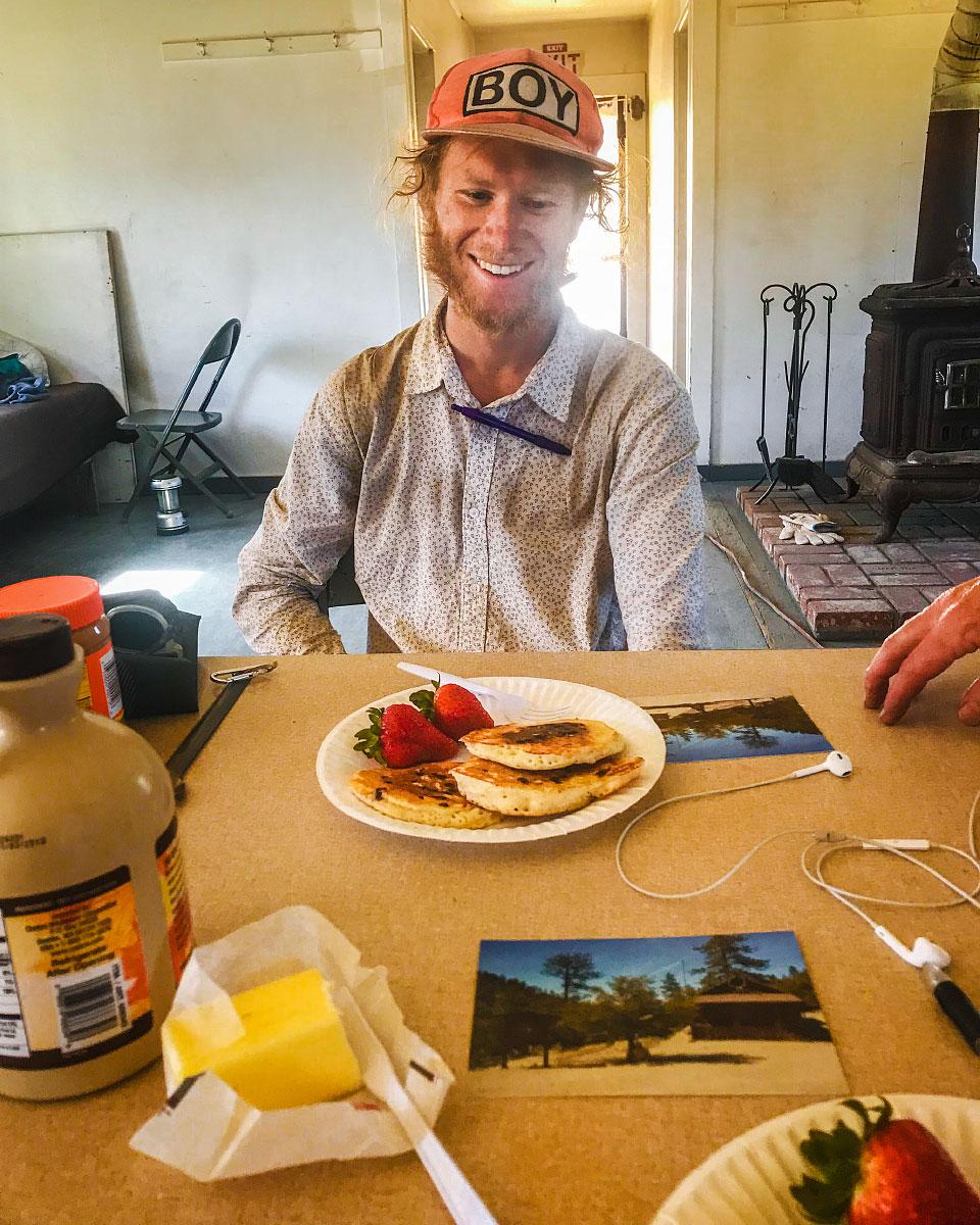 Pancakes at Camp Glenwood, mile 400.6.