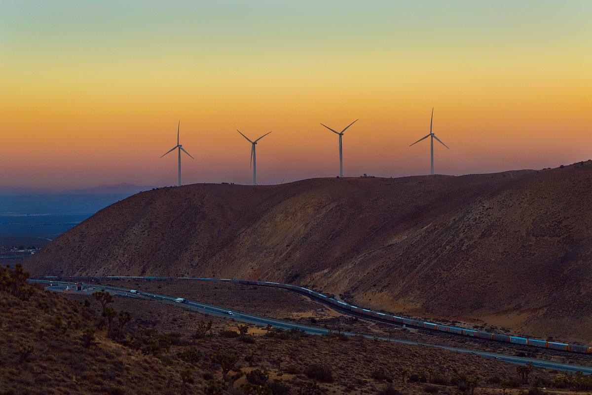 Alta wind farm sunset , mile 568.9.