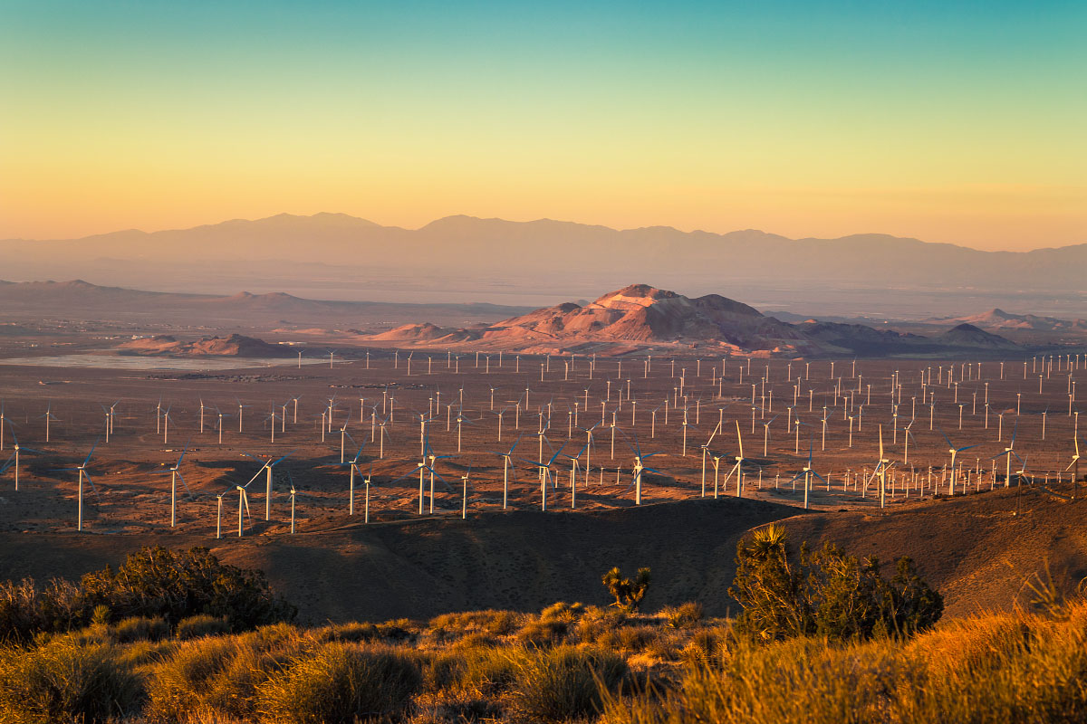 A Mojave sunrise and the last of the wind farms.