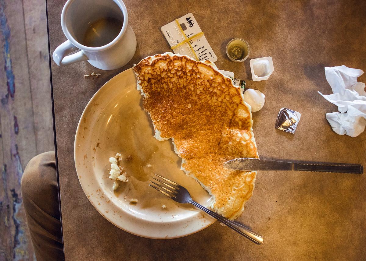 Grumpy Bear all-you-can-eat pancake breakfast.