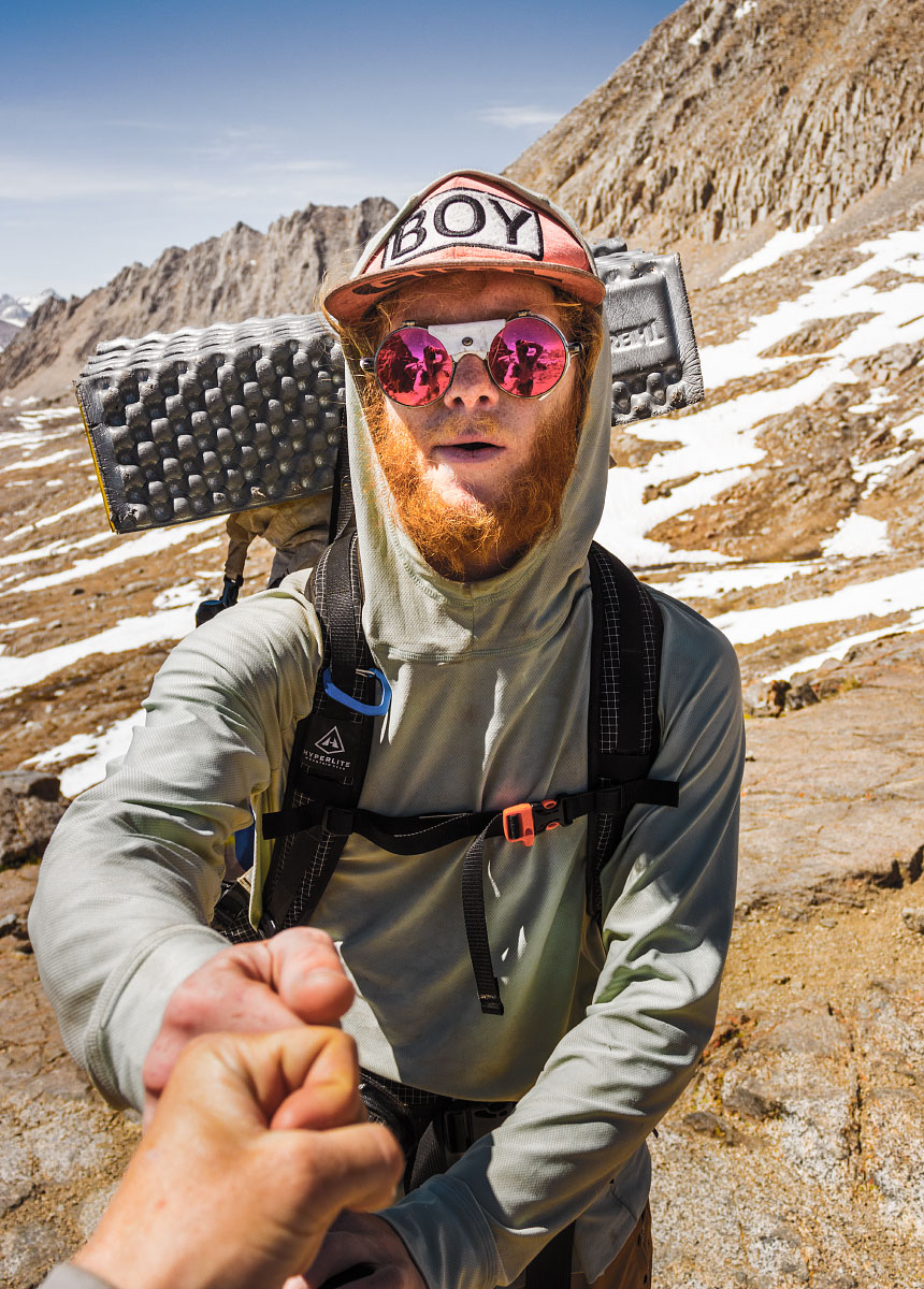 """Adam gives me """"knucks"""" for getting over Pinchot Pass."""