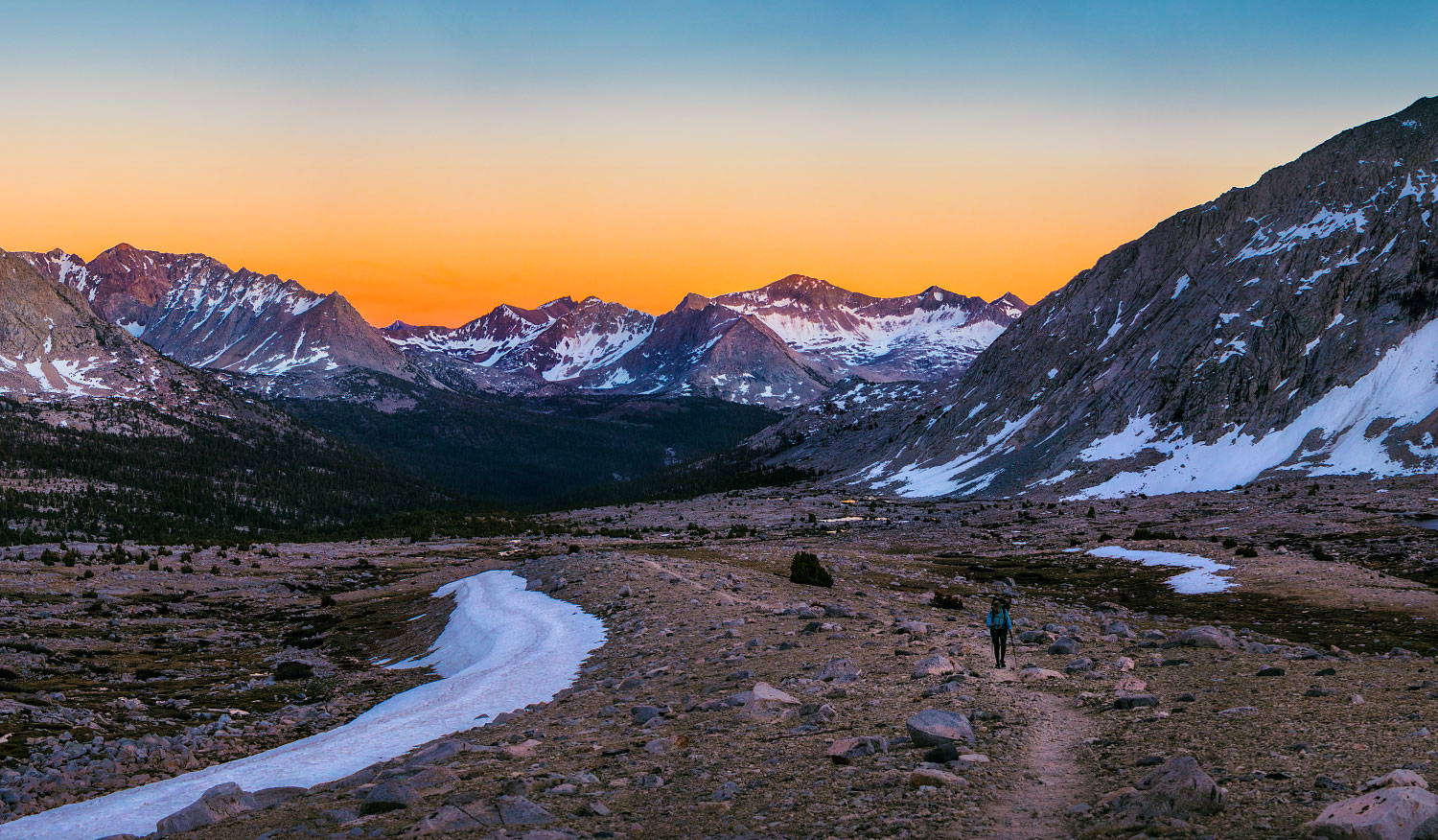 Sunset in Upper Basin, Mather Pass, mile 815.7.