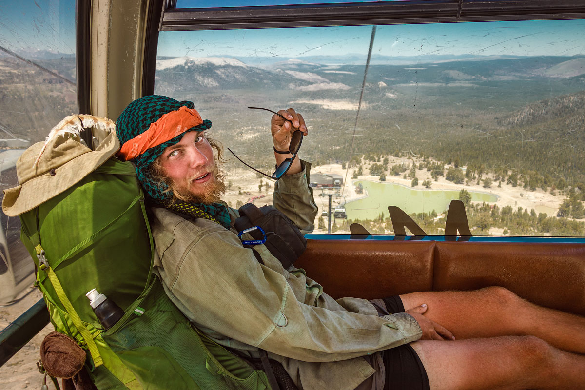 """Trash Bath"" rides the Mammoth Ski Resort gondola."