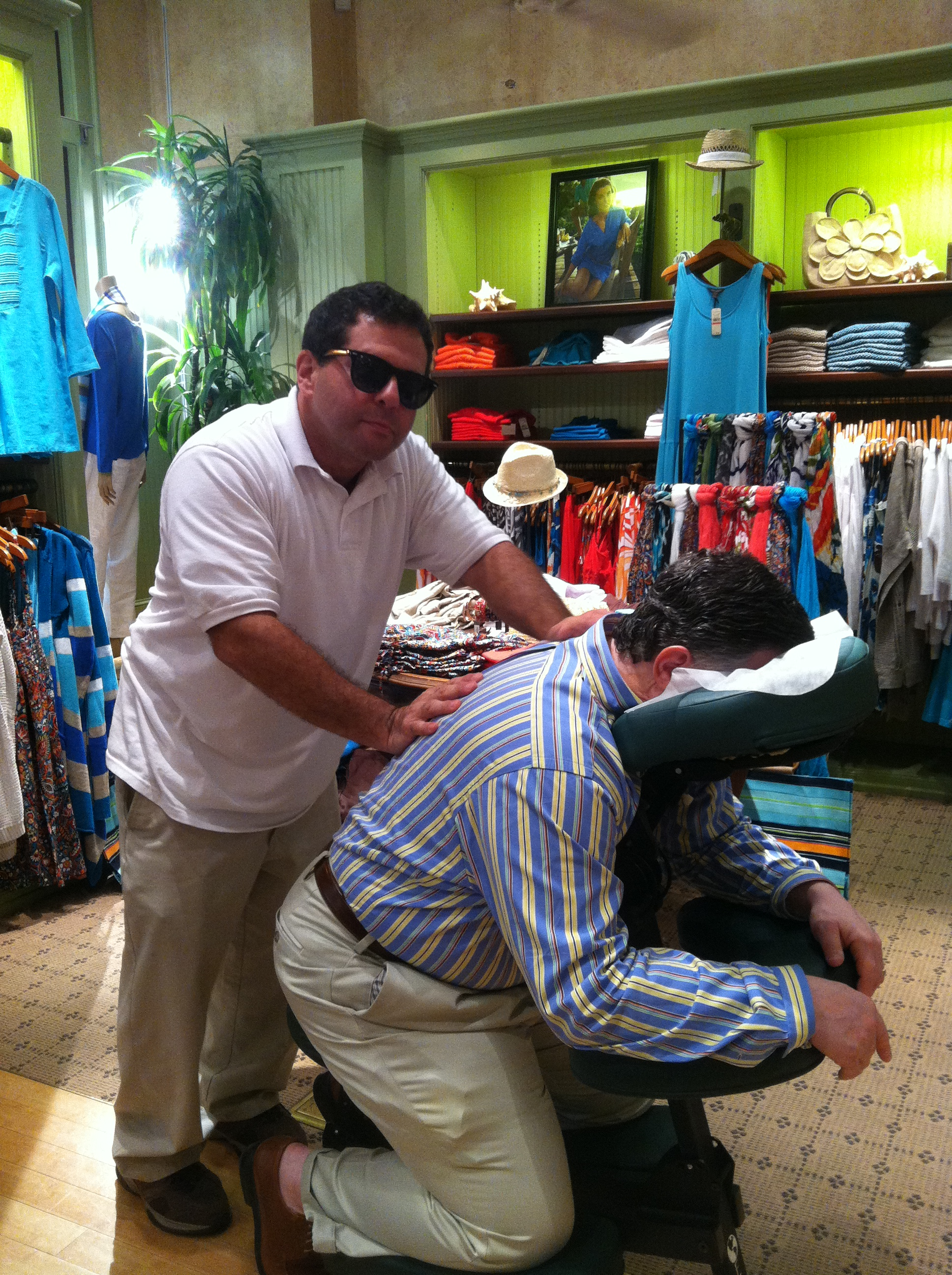 Massage is serious, but it can also be fun too.  My gig at Tommy Bahama made me want to get dressed appropriately for the job.