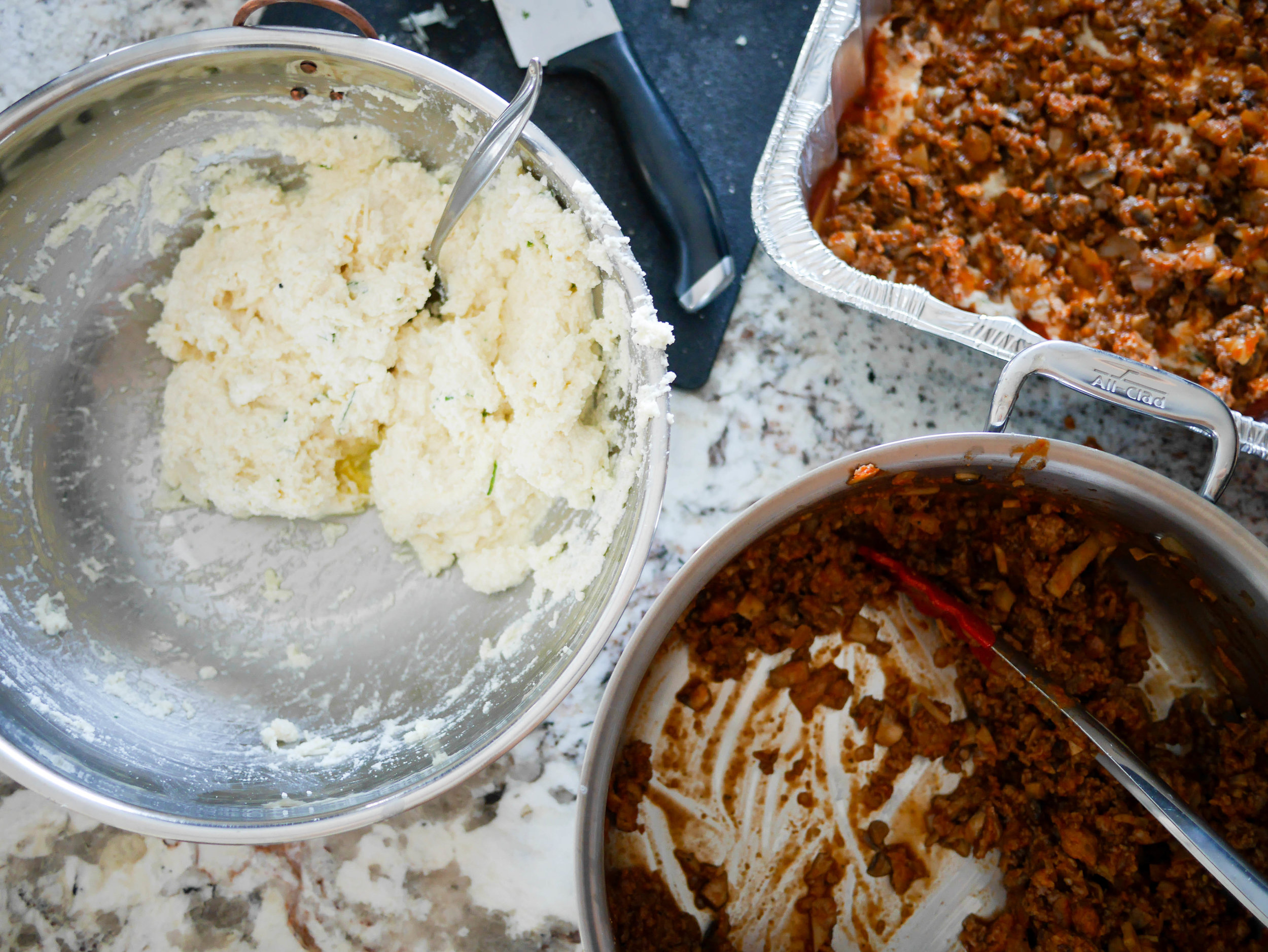 It's best to make giant batches of the ricotta and sausage mixtures - everyone knows 2 lasagnas are better than 1!