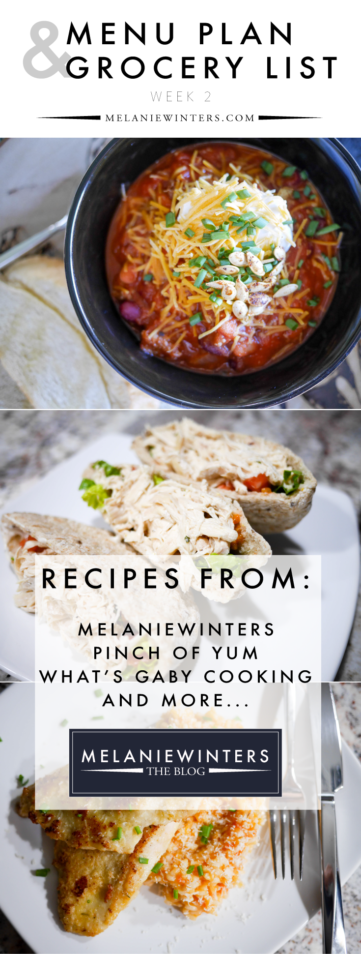 Week-long meal plans that are practical and delicious! Bonus? The grocery list is done for you - split into staples you should have in your freezer/fridge/pantry and and additional items to buy by the week. Pin to have all of the recipes at your fingertips for later!