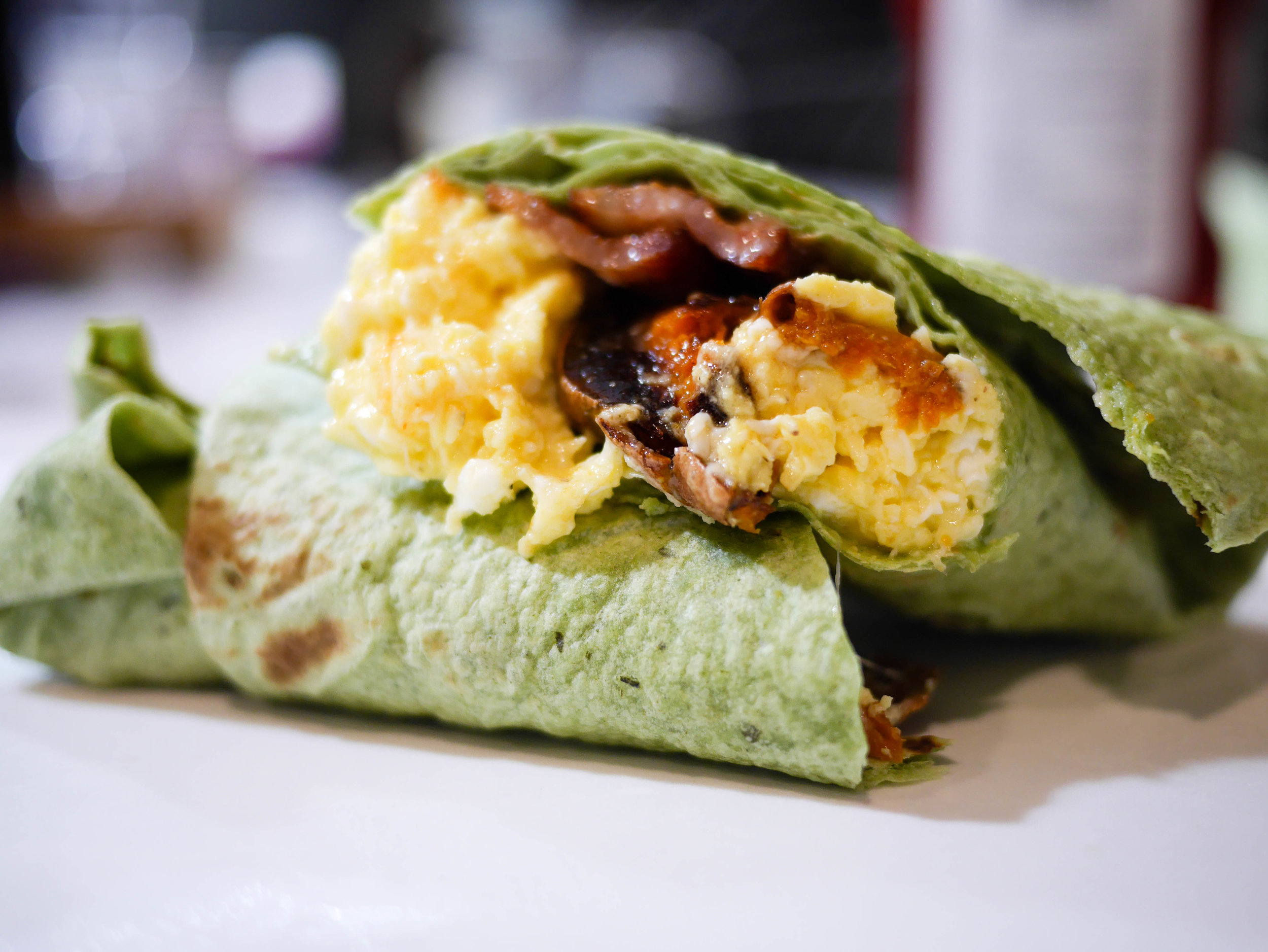Sweet potato, egg and bacon breakfast wraps. Because breakfast for dinner is never a bad thing.