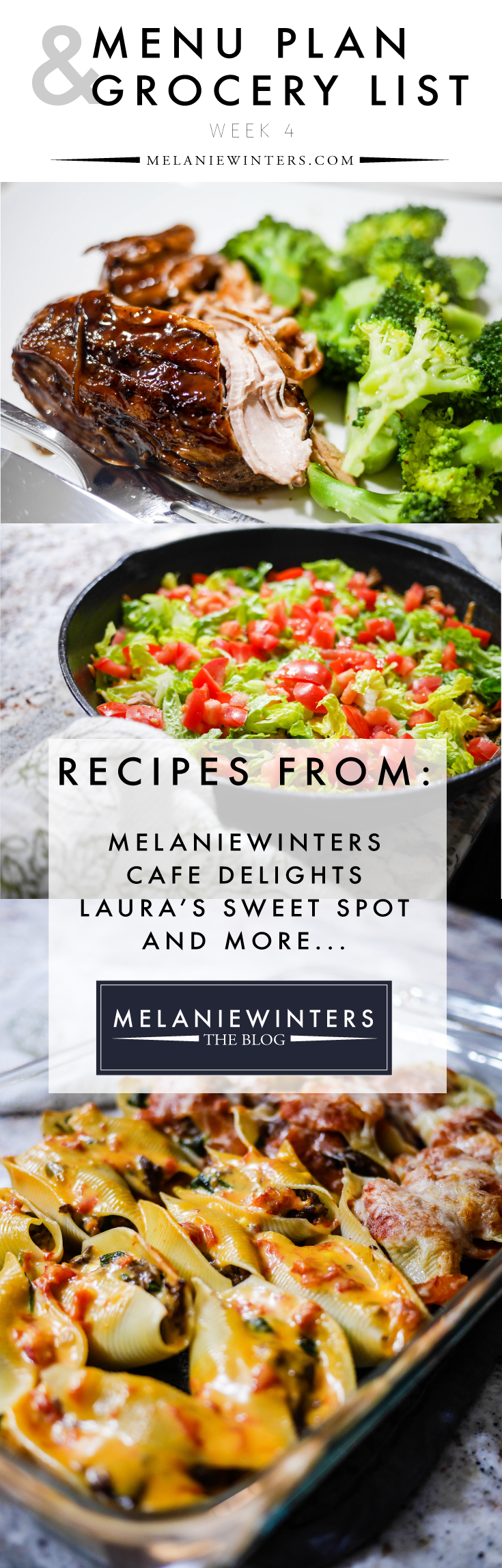 Week-long meal plans that are practical and delicious! Bonus? The grocery list is done for you - split into staples you should have in your freezer/fridge/pantry and additional items to purchase by the week. Pin to have all of the recipes at your fingertips for later!