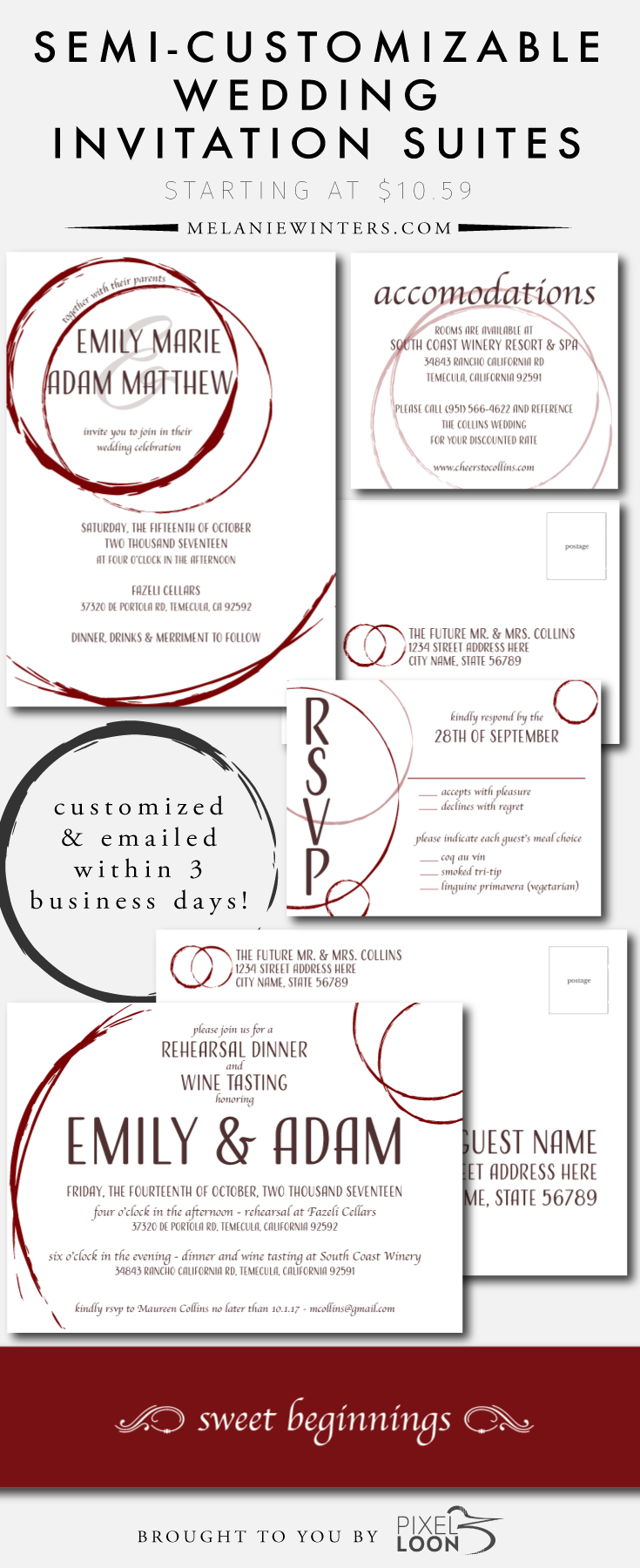 Pixel Loon is now offering semi-customizable invitation suites via melaniewinters.com! Print-ready files in just 3 business days and at a cost that can't be beat.