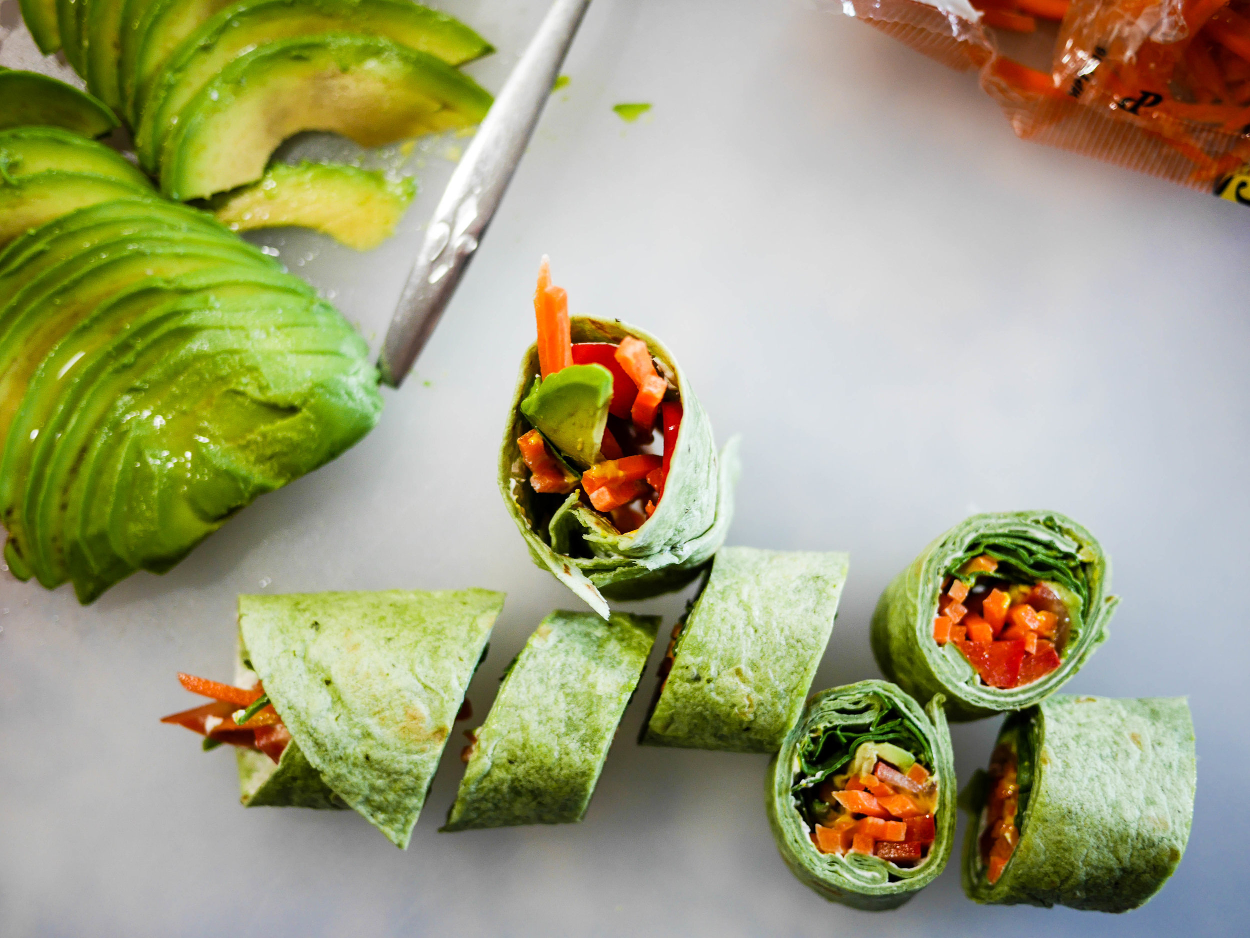 Colorful, healthy and delicious! These veggie wraps couldn't be easier and are perfect bite sized snacks for any occasion.