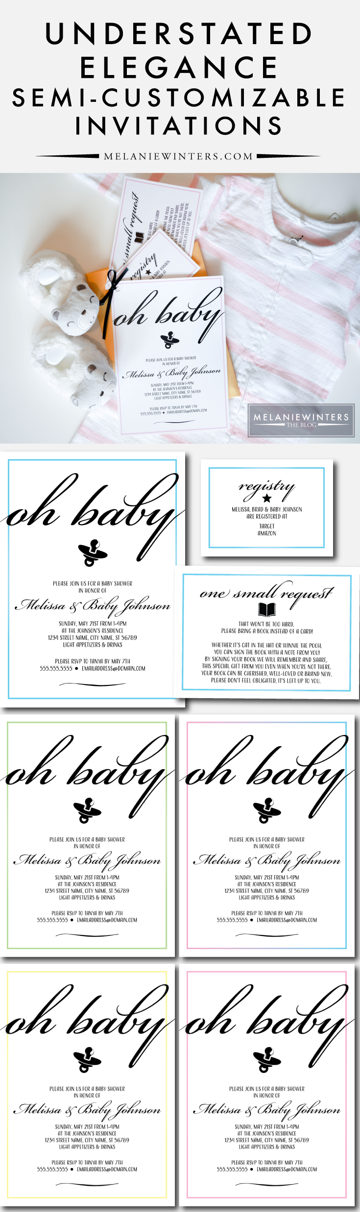 Customize these elegant baby shower invitations with our easy-to-submit form at check-out and receive your print-ready files within 3 business days!
