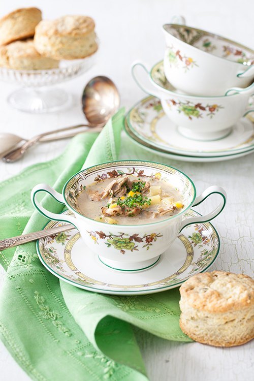 Simple and delicious. Pair this oyster-corn chowder with her homemade garlic-rosemary biscuits (or store bought on those busy weeknights) and a salad and you've got a perfectly light mid-week meal. Image by Yelena at  Cooking Melangery  - written permission for use granted.