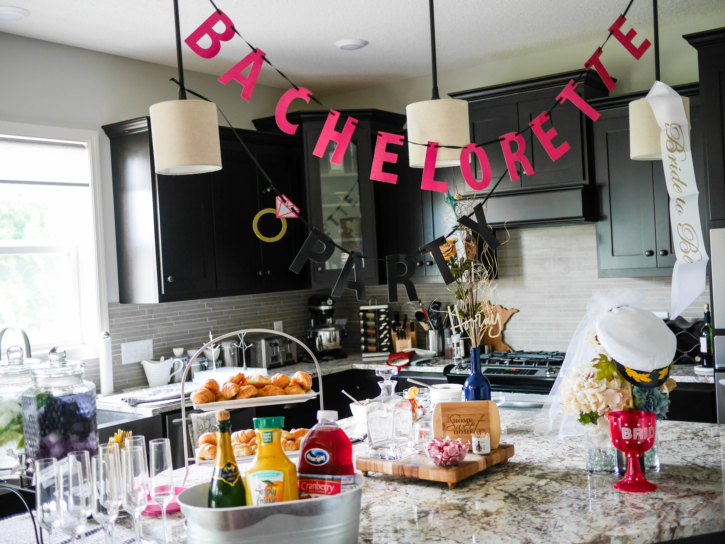 A simple brunch spread provides the perfect base for a day of drinking on the lake to celebrate your bride-to-be.