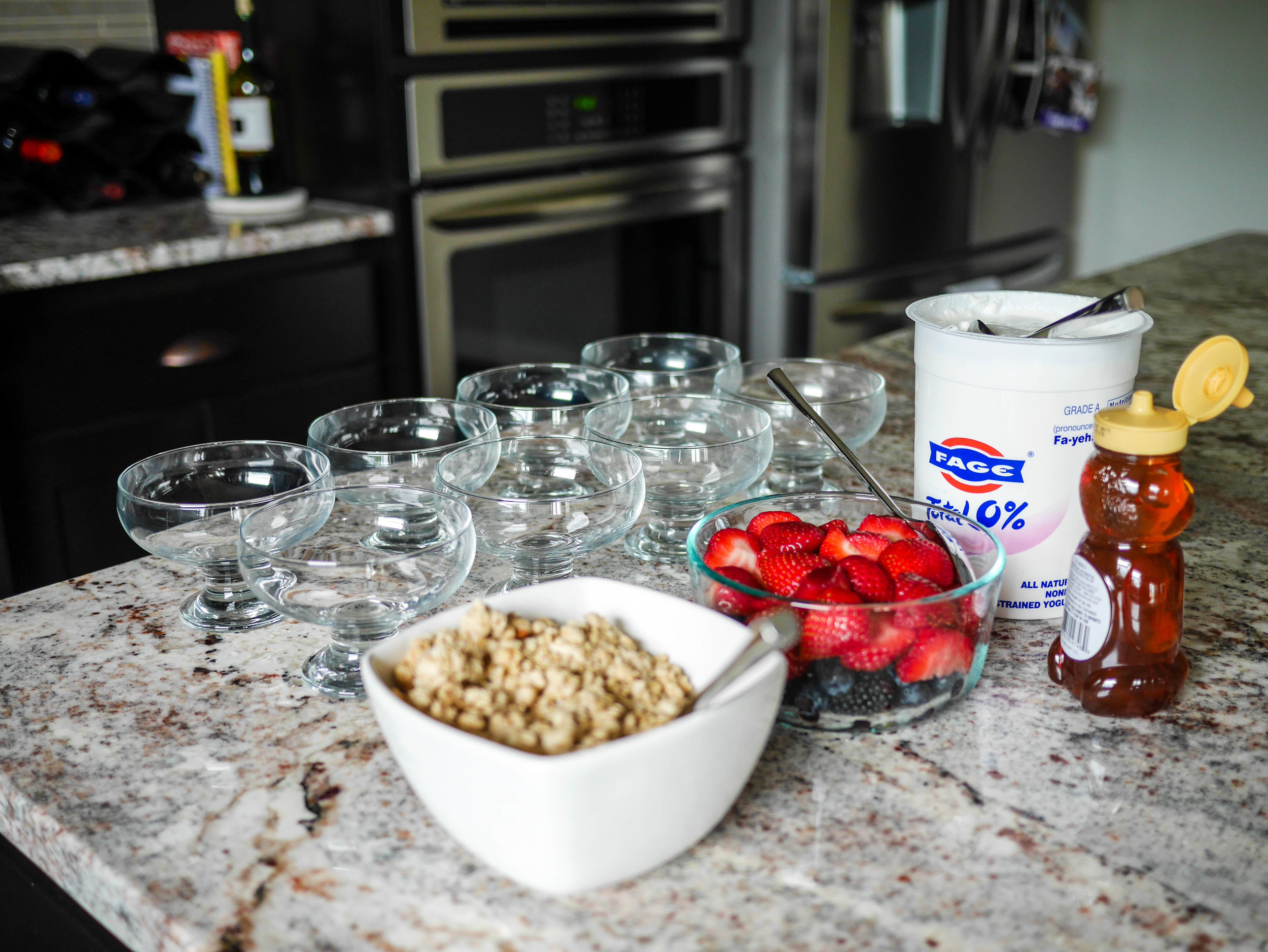 A make-your-own yogurt bar is the perfect light beginning to a your day of bachelorette fun.