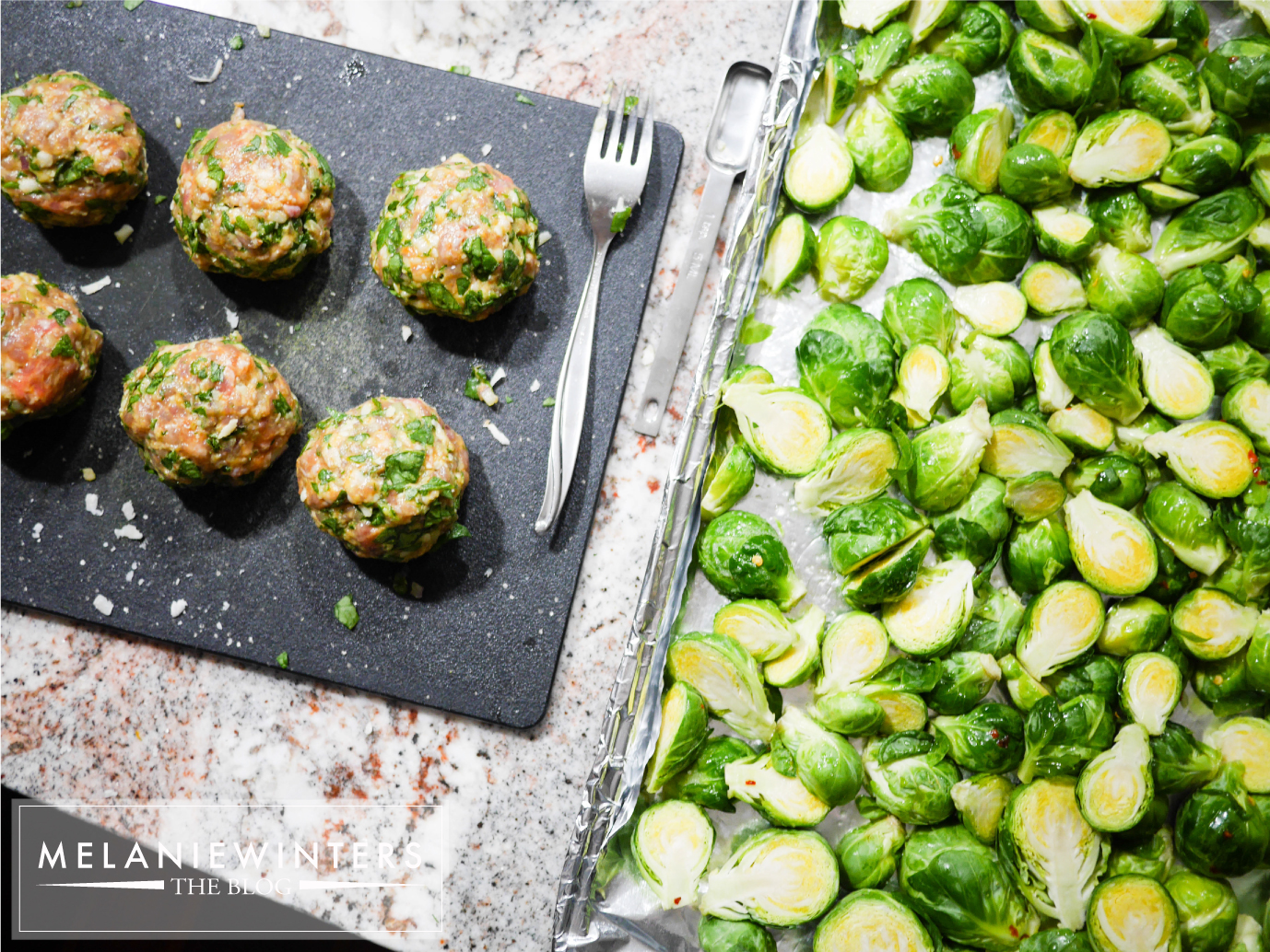 Great-for-you Brussels sprouts are a perfect side for these flavorful gluten free meatballs.