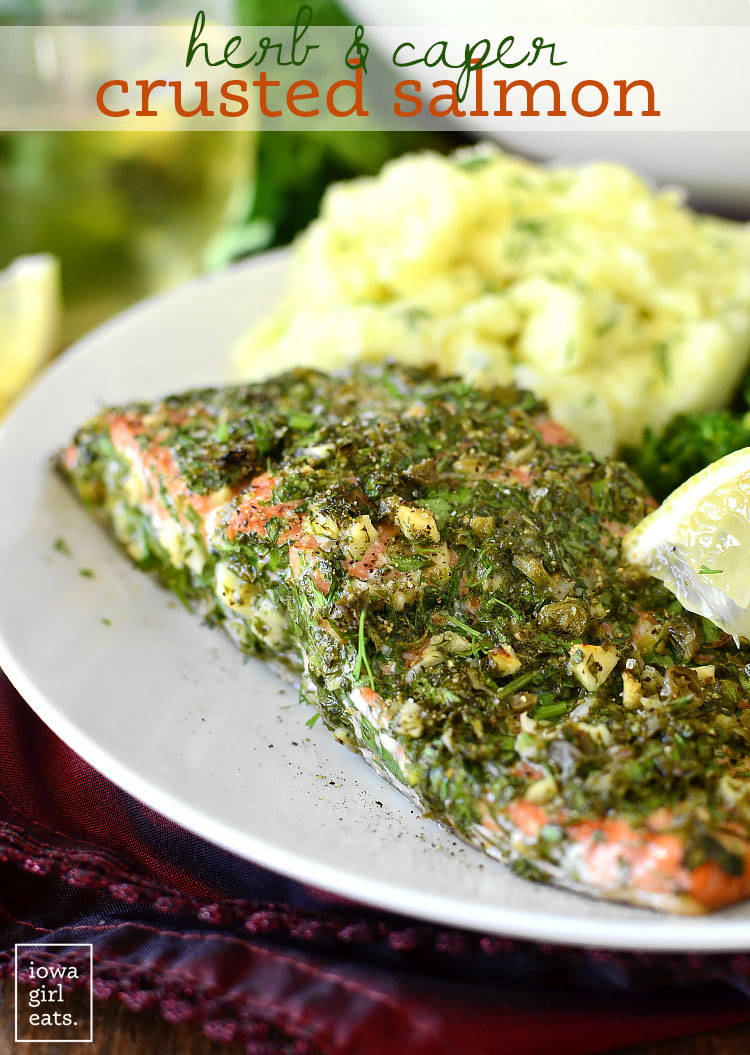 A delicious, quick and easy meal that comes together in minutes! This gluten free salmon is the perfect dinner to get over hump day! Photo credits and permission from Iowa Girl Eats.