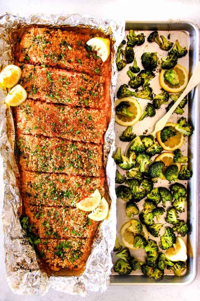 This 25 minute sheetpan dinner from  Carlsbad Cravings  prooves that easy and healthy can still be insanely delicious! Image and permissions provided by Jen at  Carlsbad Cravings .