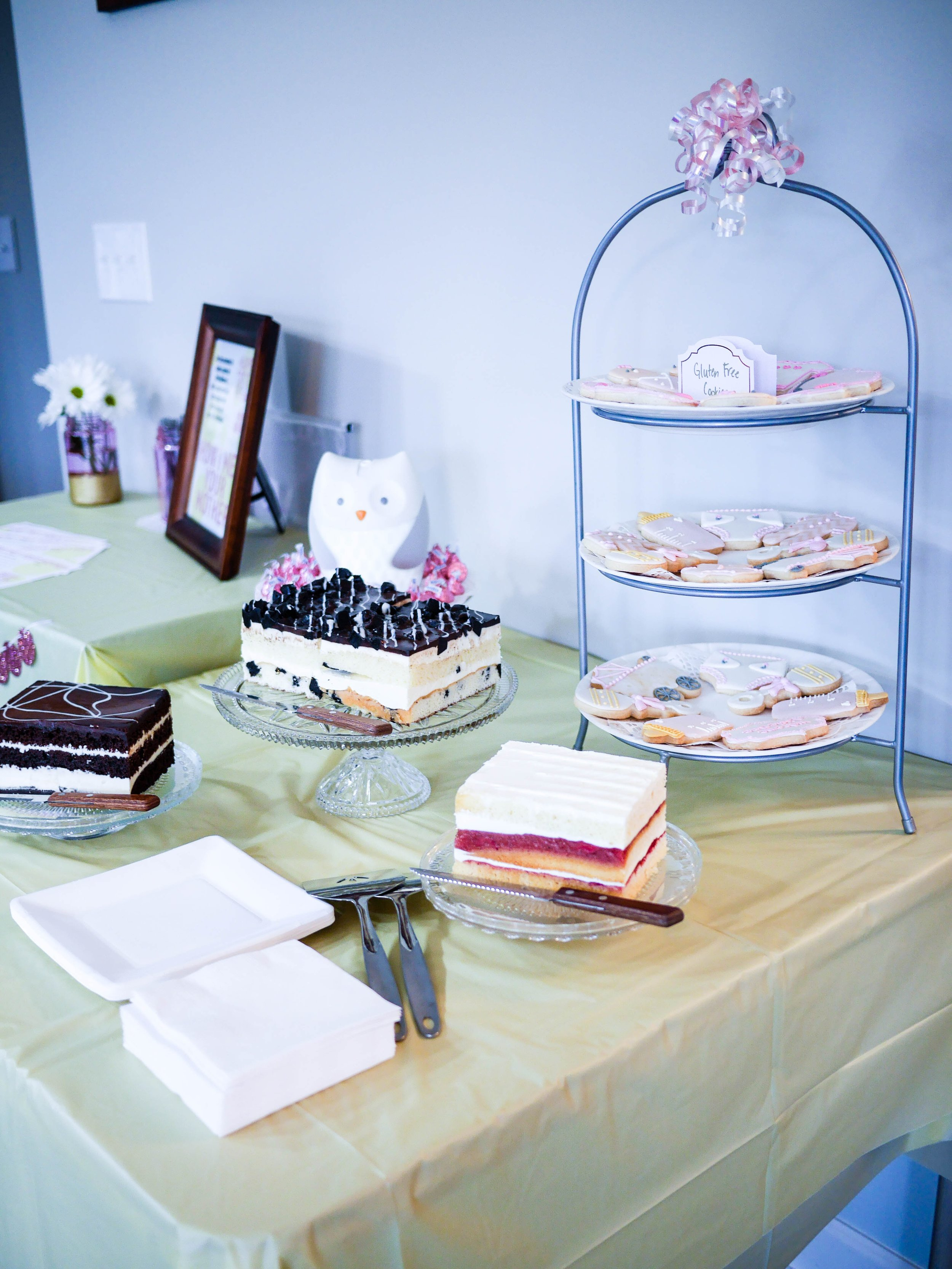 Mini cakes and cookies provide the perfect sweet treat for guests to snack on throughout the party.