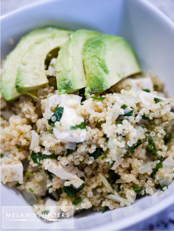 Avocado is the perfect creamy topping for this quinoa packed full of fresh flavors.