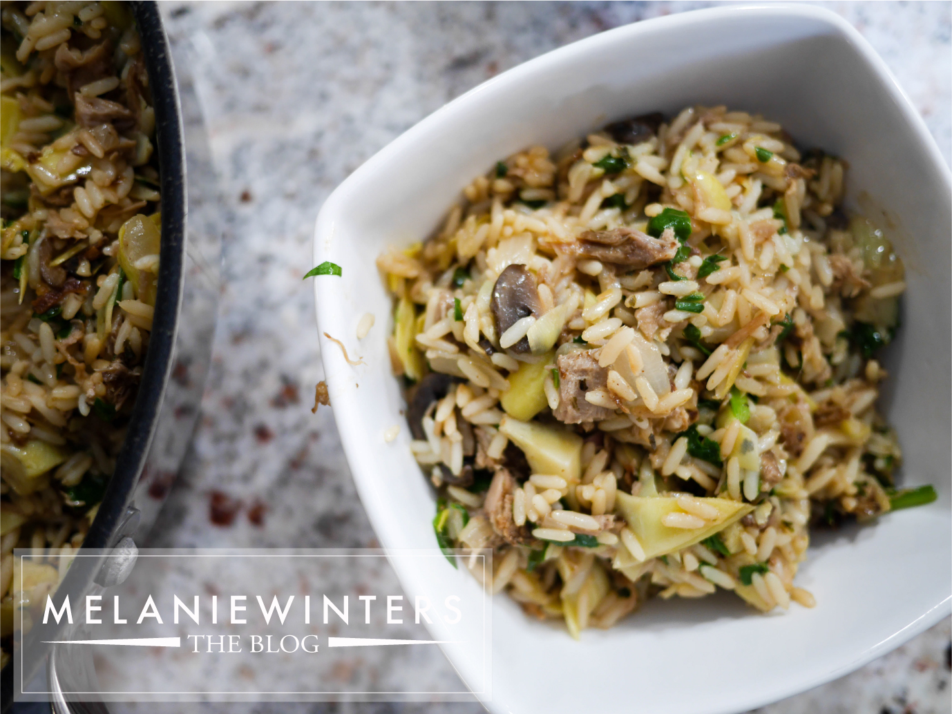 An easy 1 pan dinner that is packed with flavor and is a perfectly creative way to reuse leftover pork or chicken.