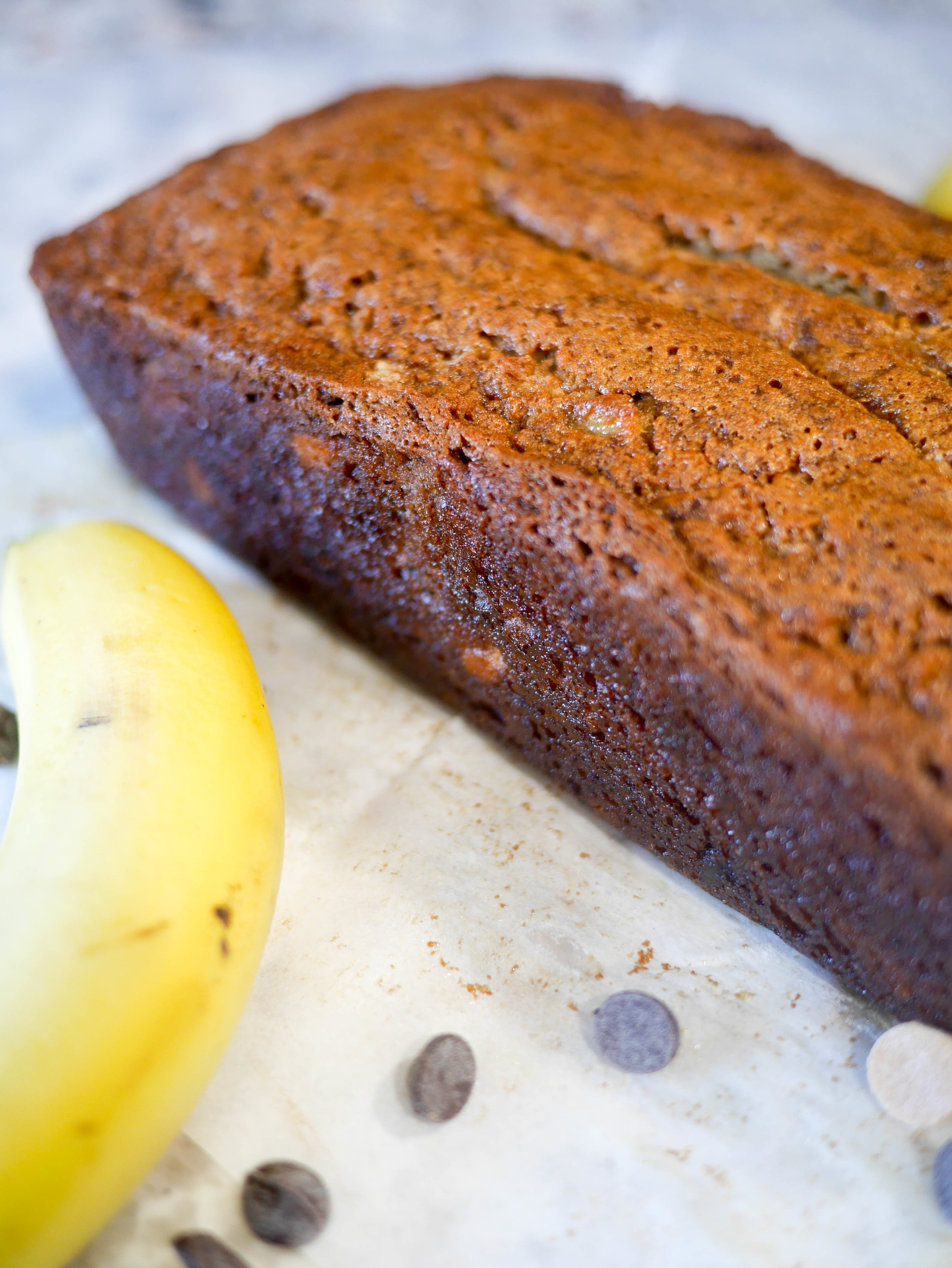 Subtle peanut butter flavor and chocolate chips make this banana bread the decadent solution to satisfy that sweet tooth.