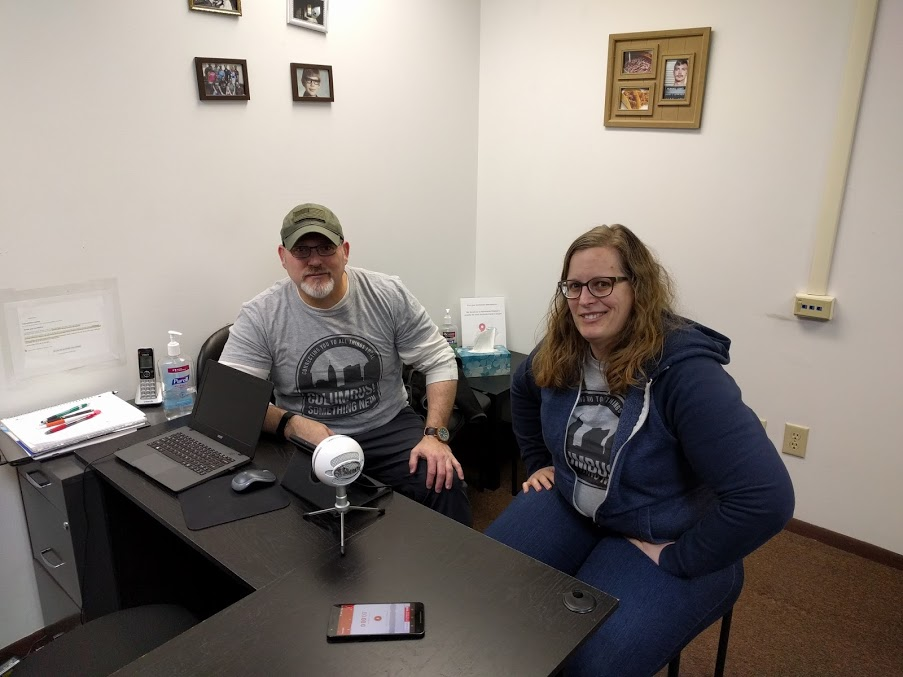 Burke and Jessica ready to interview Cora with Columbus Escape Room