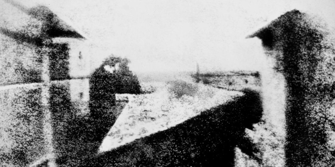 Joseph Nicephore Niepce's image of his Le Gras estate in the Burgundy region of France is the oldest surviving photograph. It was most likely taken in 1826 or 1827.