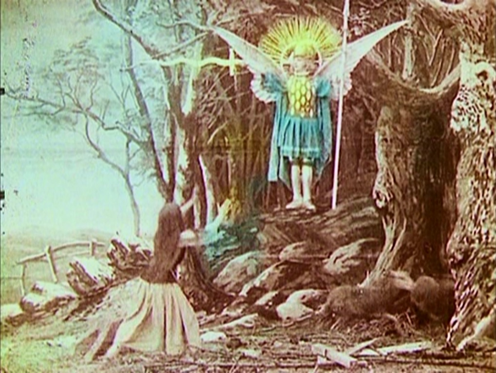 A hand-colored frame from Georges Melies' 'Joan of Arc' from 1900.