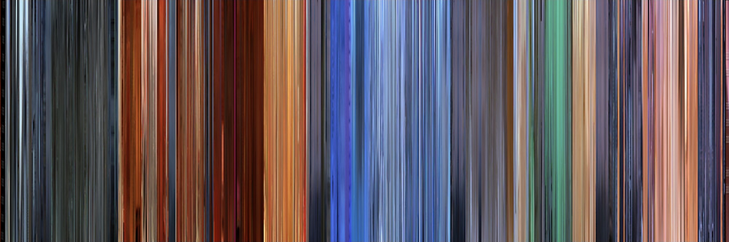 MOVIE BARCODE image of the film 'HERO'. One can observe the distinct hues of the battle sequences. How this serves the narrative is discussed in this  2004 review .