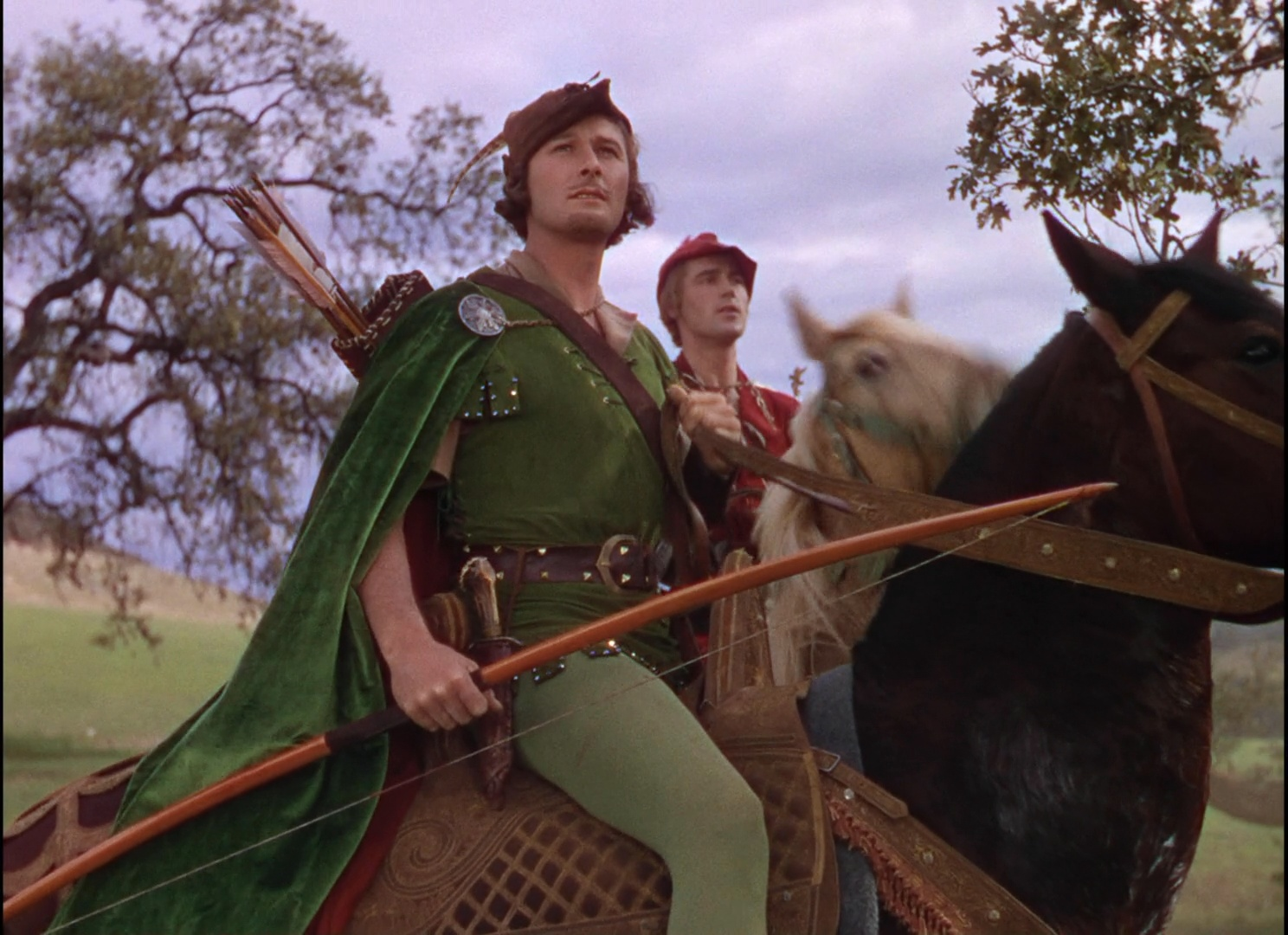 The film 'The Adventures of Robin Hood' was an early example of Technicolor.  Expensive and complicated , it was quickly surpassed in usage by  Eastmancolor .However,Technicolor's process retains color better, and most films of this era we see today have been reprinted on Technicolor.