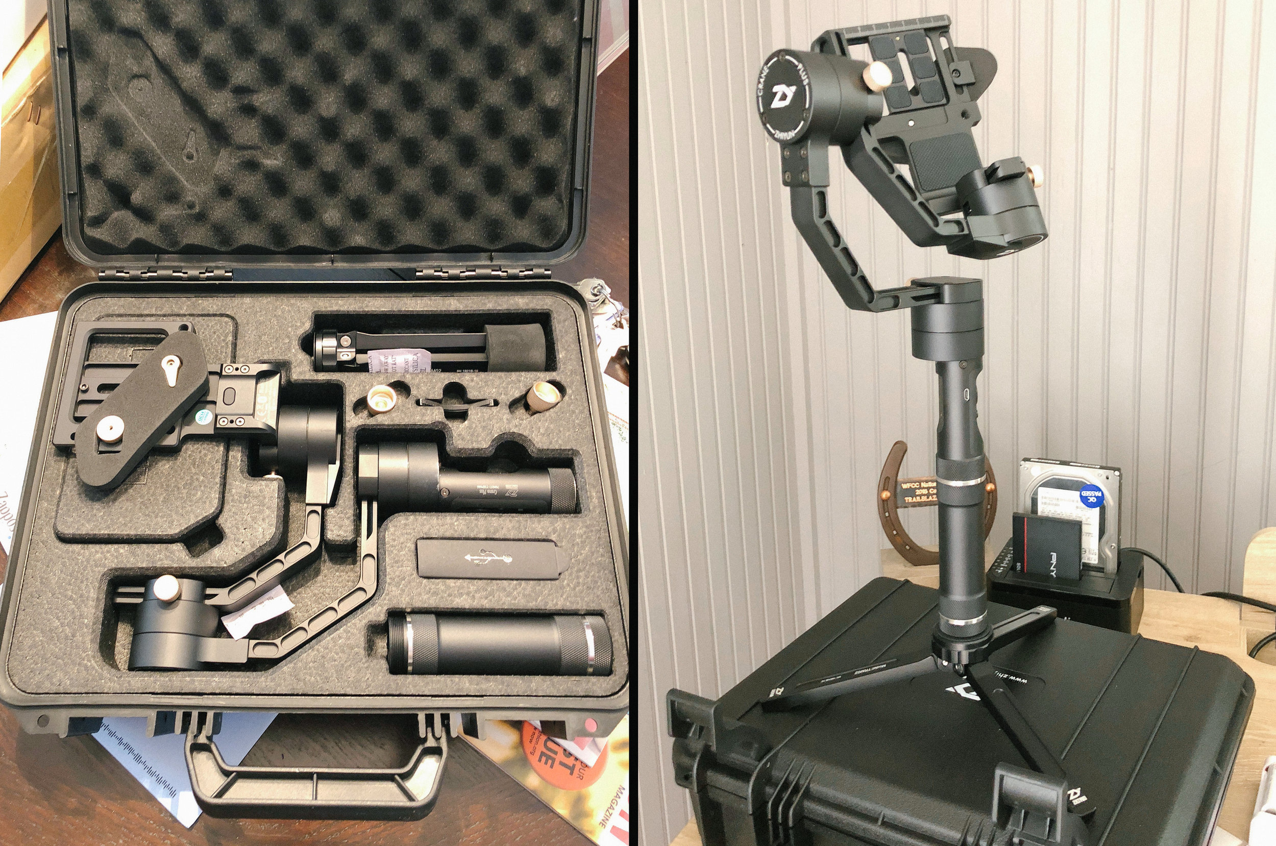The Zhiyun Crane Plus includes a robust carrying case that conveniently housed everything we needed to shoot. Assembly is quick and straightforward.