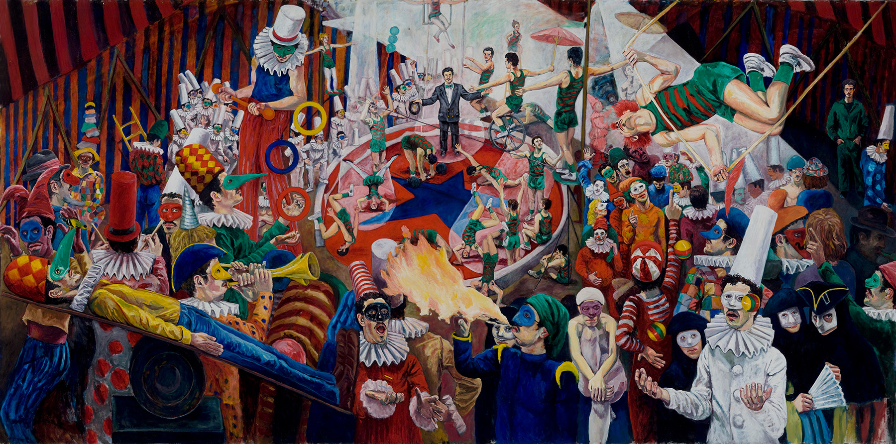 CARLO PITTORE.  La Buffonera.  8' x 17'. Oil on canvas. 1983. © International Artists Manifest  PHOTO CREDIT: Jay York