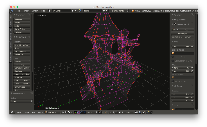 3D model with the vertices