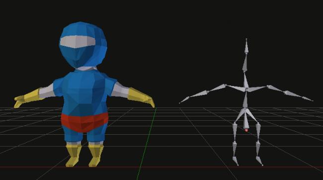 3D mesh and a bone armature