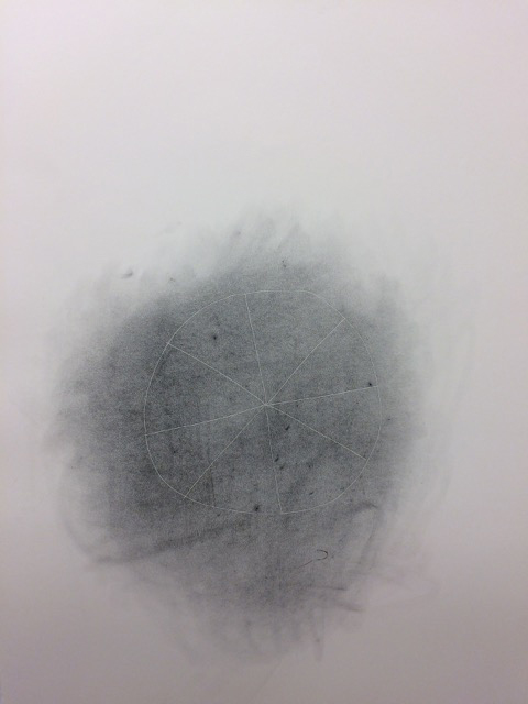 Invisible line drawings (pie) , 2015, carbon on paper, 30 x 22 inches.