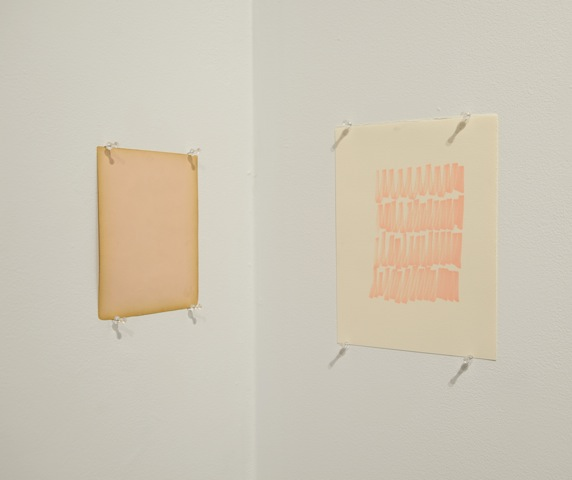Pink study for corner , 2014. marker on paper, found paper, 11 1/4 x 8 1/2, 6 3/8 x 7 3/4 inches