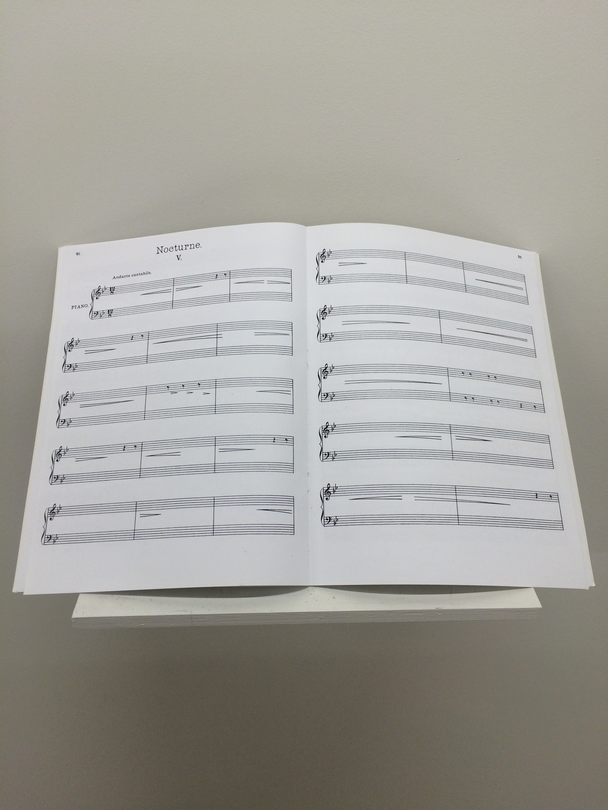 """Sylvia Matas, Nocturne, 2010, altered score, 18""""x9""""x0.5"""" (unavailable)"""