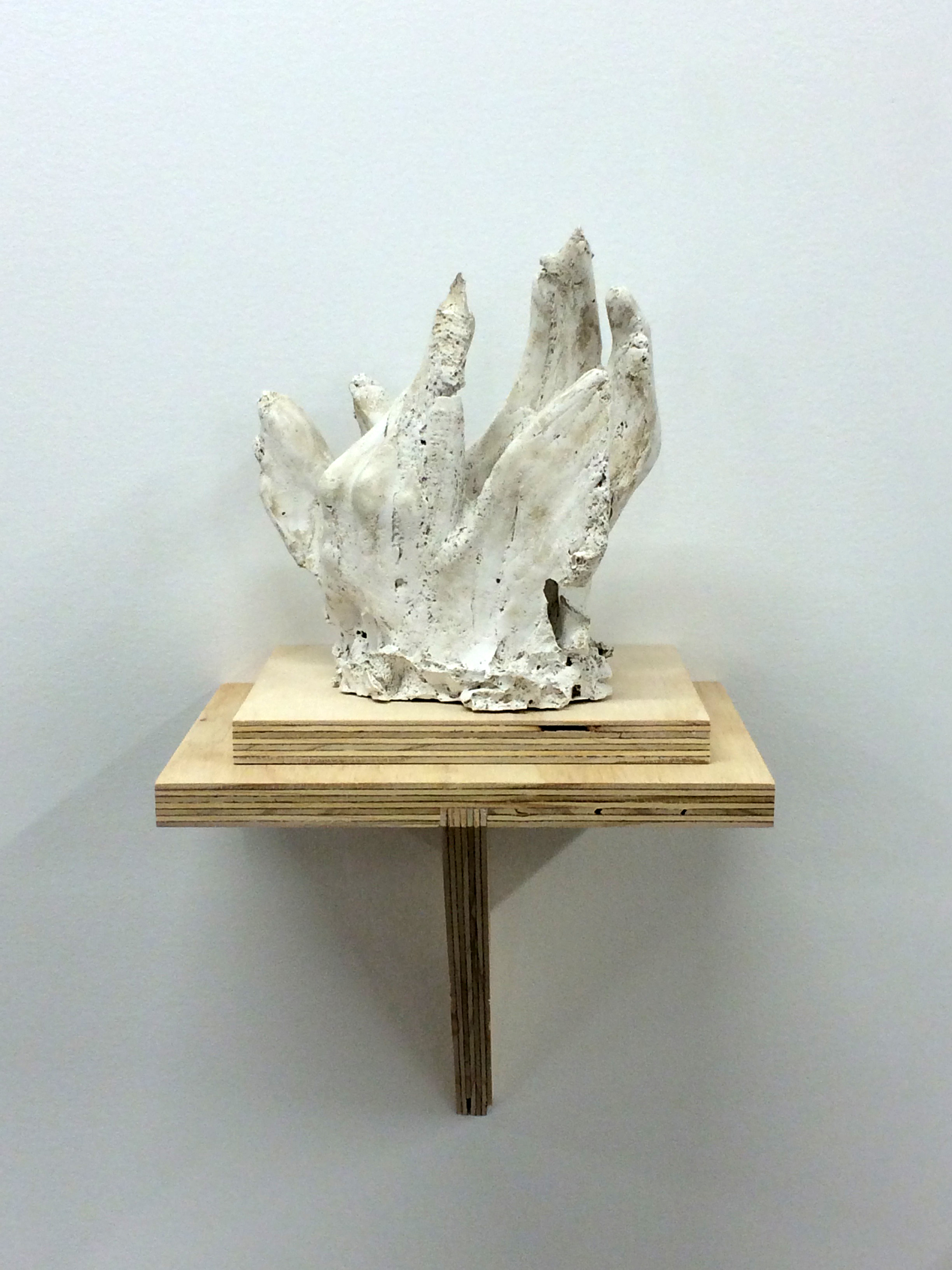 """Hand No.3, 2015. Plaster and plywood, 16x8.5x9""""."""