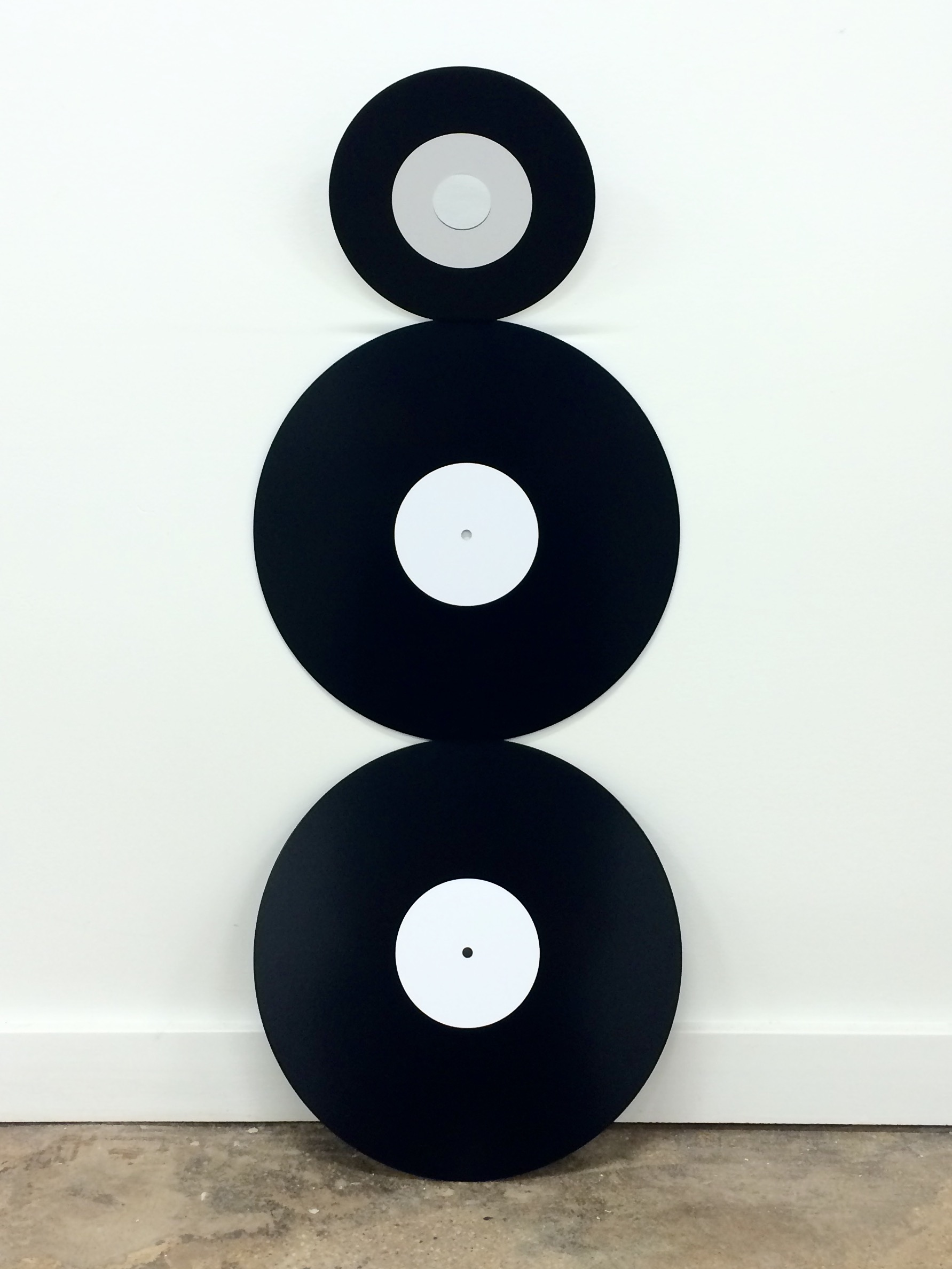 3 Records (white label), 2016. Ed. of 10, powder coated steel, vinyl.
